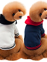 cheap -Dog Coat Hooded Shirts Tracksuit Color Block Thick Velvet Casual / Daily Dog Clothes Puppy Clothes Dog Outfits Warm White Dark Blue Gray Costume for Girl and Boy Dog Cotton S M L XL XXL
