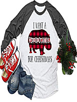 cheap -women i want a plaid hippopotamus for christmas t-shirt funny hippo graphic xmas holiday shirt casual long sleeve tees (s, white-black)