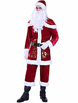 cheap -Santa Suit Costume Adults' Women's Christmas Christmas Festival Christmas Halloween Festival / Holiday Polyester Velour Red Women's Easy Carnival Costumes Solid Color / Top / Pants / Shawl / Gloves