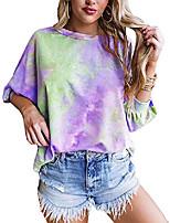 cheap -womens tie dye 3/4 sleeve tops plus size crewneck loose casual t-shirt purple