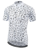 cheap -21Grams Men's Short Sleeve Cycling Jersey Polyester Gray+White Solid Color Bike Jersey Top Mountain Bike MTB Road Bike Cycling UV Resistant Breathable Quick Dry Sports Clothing Apparel / Stretchy