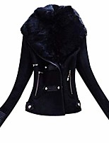 cheap -suede jacket faux fur women - nrutup faux fur collar suede leather jacket, elegant waisted leather jacket (black, 6)