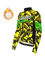 cheap -21Grams Men's Long Sleeve Cycling Jacket Winter Fleece Polyester Yellow Red Blue Geometic Bike Jacket Top Mountain Bike MTB Road Bike Cycling Thermal Warm Fleece Lining Breathable Sports Clothing