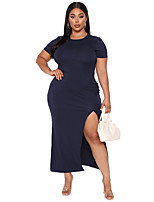 cheap -Women's Sheath Dress Maxi long Dress - Short Sleeve Solid Color Split Summer Plus Size Elegant Sexy Slim 2020 Dusty Blue XL XXL 3XL 4XL 5XL