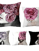 cheap -Cushion Cover 5PCS Linen Soft Decoration Square Throw Pillowcase Cushion Cover Sofa Box Pillowcase 45 x 45 Cm 18 x 18 Inches High Quality Washable Woman Flowers Short Fluff
