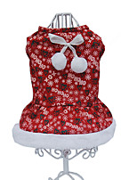 cheap -Dog Costume Dress Snowflake Christmas Cute Christmas Winter Dog Clothes Puppy Clothes Dog Outfits Breathable Red Costume for Girl and Boy Dog Cotton XS S M L XL