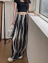cheap -Women's Basic Streetwear Comfort Daily Going out Wide Leg Pants Pants Striped Full Length Print Black