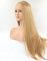 cheap -lucyhairwig synthetic lace front wig half hand tied honey blond long straight glueless heat resistant hair middle part lace front wigs for women