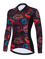 cheap -Women's Long Sleeve Cycling Jersey Winter Red Bike Top Mountain Bike MTB Road Bike Cycling Breathable Quick Dry Sports Clothing Apparel / Stretchy / Athletic