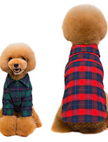 cheap -Dog Shirt / T-Shirt Polo Plaid / Check Christmas Spots & Checks Casual / Daily Dog Clothes Puppy Clothes Dog Outfits Breathable Red Green Costume for Girl and Boy Dog Polyester S M L XL XXL