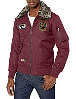 cheap -x-ray men's slim fit flight jacket with removable faux fur collar, burgundy, x-large