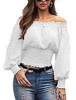 cheap -womens off the shoulder elastic tops shirt casual loose chiffon long sleeve crop top blouse white