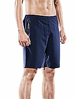 cheap -men's plus size summer fashion pure color casual loose pocket sports beach shorts pants relaxed fit trunks blue