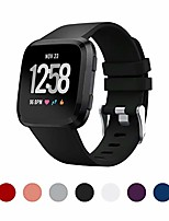 cheap -sport bands compatible with fitbit versa, breathable silicone adjustable sports band strap replacement wristband for fitbit versa smart watch size small large (small, black)