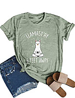 cheap -womens llamastay 6 feet away funny graphic print t-shirt tee trendy tops olive