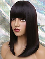 "cheap -16"" long bob wig with bangs straight synthetic hair wigs for women color: dark brown"
