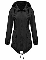 cheap -misaky women's waterproof windproof trench coat outdoor plus size long sleeve hooded rain jacket with pockets(black, s)