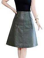 cheap -women's basic black/green knee length faux leather a-line midi skirt (large, green)