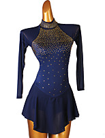 cheap -Figure Skating Dress Women's Girls' Ice Skating Dress Sky Blue Dark Navy Open Back Patchwork High Elasticity Training Competition Skating Wear Classic Crystal / Rhinestone Long Sleeve Ice Skating