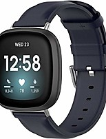 cheap -compatible with fitbit versa 3 / fitbit sense leather bands women men, replacement band strap bracelet wristbands accessories fit for fitbit sense/versa 3 smartwatch (navy)