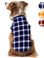 cheap -Dog Shirt / T-Shirt Plaid Printed Classic Cute British Casual / Daily Dog Clothes Puppy Clothes Dog Outfits Breathable Red Blue Orange Costume for Girl and Boy Dog Polyster S M L XL