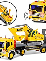 cheap -friction powered flatbed trailer truck vehicle with excavator tractor - push and go construction toy for kids with lights and sounds