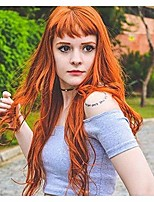 cheap -orange wig with bangs brown red color wig wet and wavy long loose wave curly synthetic heat resistant fiber wig for women 24 inch