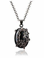 cheap -natural black obsidian healing crystal stone pendant necklaces red bronze flower wrapped necklace reiki oval gemstone quartz jewelry for womens girls