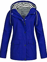cheap -amiley women's waterproof zip off raincoat outdoor stripes hooded rain jacket windbreaker with pockets button (large, blue)