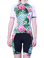cheap -21Grams Women's Short Sleeve Cycling Jersey with Shorts Polyester Green Floral Botanical Bike Clothing Suit Breathable 3D Pad Quick Dry Reflective Strips Back Pocket Sports Graphic Mountain Bike MTB