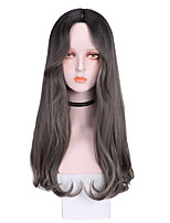 cheap -Synthetic Wig Curly Middle Part Wig Long Brown Grey Black Purple Synthetic Hair 22 inch Women's Soft Exquisite Comfy Brown Gray