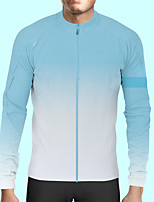 cheap -CAWANFLY Men's Long Sleeve Cycling Jersey Polyester Blue / White Bike Jersey Top Mountain Bike MTB Road Bike Cycling Quick Dry Sports Clothing Apparel / Stretchy / SBS Zipper / Italian Ink
