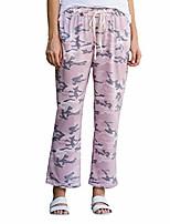 cheap -apparel women's pink camo elastic waist breathable linen blend pants | 100% cotton
