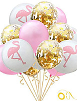 cheap -hawaiian flamingo balloon tropical balloons with round confetti wedding birthday party supplies decorations 24pcs(gold)