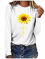 cheap -graphic tees for women long sleeve funny sunflower faith print fall cute casual t shirt tops for teen girls junior