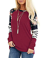 cheap -women floral printed stripe color block long sleeve casual t-shirt tops grape xl