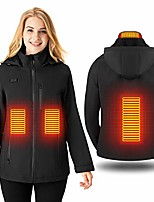 cheap -heaetd jacket women, electric jacket warmer usb with 3 levels heat settings, washable heating clothes coat with detachable hood for for riding bicycle, motorcycle, fishing, skiing(no battery)