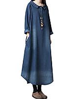 cheap -women's loose fit calf long denim dress blue uk size 14