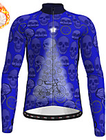 cheap -21Grams Men's Long Sleeve Cycling Jersey Winter Fleece Polyester Blue Skull Christmas Bike Jersey Top Mountain Bike MTB Road Bike Cycling Fleece Lining Warm Quick Dry Sports Clothing Apparel