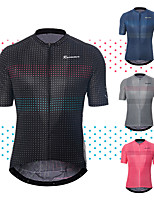 cheap -21Grams Men's Short Sleeve Cycling Jersey Polyester Black Blue Pink Polka Dot Bike Jersey Top Mountain Bike MTB Road Bike Cycling Breathable Quick Dry Reflective Strips Sports Clothing Apparel