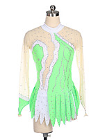 cheap -21Grams Figure Skating Dress Women's Girls' Ice Skating Dress Blue Green Spandex High Elasticity Training Competition Skating Wear Crystal / Rhinestone Long Sleeve Ice Skating Figure Skating / Kids