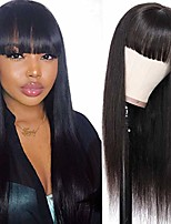 cheap -straight wigs with bangs brazilian virgin with elastic bands natural black color wig for women (14inch)