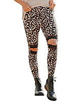 cheap -women hollow out leopard printed skinny cutout tummy control leggings running pants black l