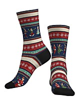 cheap -Socks Cycling Socks Men's Women's Bike / Cycling Breathable Soft Comfortable 1 Pair Graphic Santa Claus Cotton Blue S M L / Stretchy