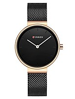 cheap -quartz watch women black or gold steel bracelet watch 30m waterproof lady (rose gold black)