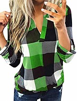 cheap -women long sleeve flannel plaid shirt pullover sexy v neck tops casual loose boyfriend tunic slim t shirts blouses black & green medium