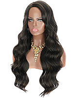 cheap -28 inches black brown highlights yaki synthetic hair wigs for women long body wavy curly wigs l parting natural looking heat resistant replacement wigs