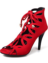 cheap -Women's Sandals Stiletto Heel Peep Toe Casual Daily Walking Shoes Suede Black Red Gray