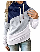 cheap -womens cowl neck color block striped tunic sweatshirt drawstring pullover long sleeve hoodie casual tops