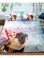 cheap -Pug Dog 3-Piece Duvet Cover Set Hotel Bedding Sets Comforter Cover with Soft Lightweight Microfiber For Holiday Decoration(Include 1 Duvet Cover and 1or 2 Pillowcases)